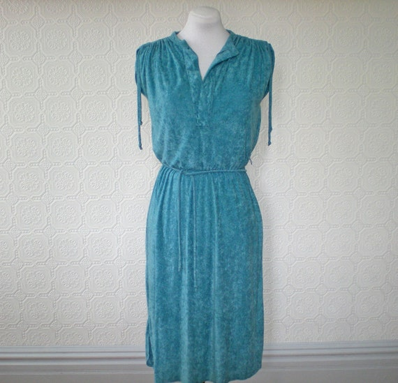 Beach Dress L, Terry Cloth Summer Dress, Turquoise Blue, Vintage 1970's