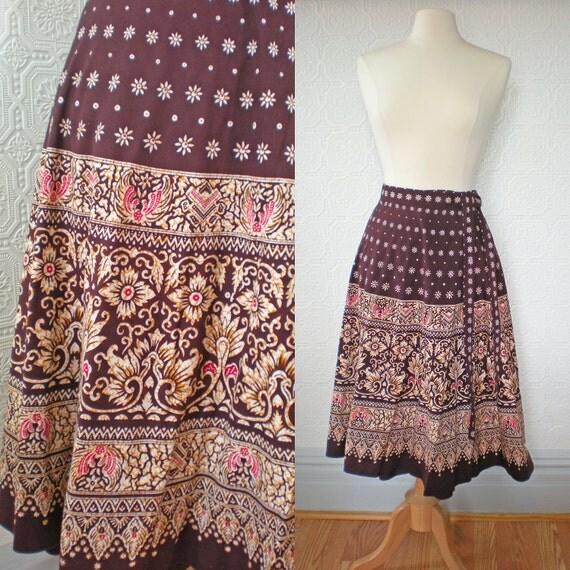 Wrap Skirt M L, Tribal Print, Brown A-Line, Cotton, Vintage