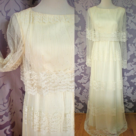 Victorian Lace Dress, White Floor Length Gown, NOS, by Kay Kipps, size extra small, Vintage 1970's