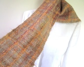 Handwoven Peach-colored Mohair Chenille Scarf for sale