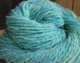 Soft Homespun Wool Yarn Hand-dyed Blue-Green 2-ply 2.5 oz 73 yards