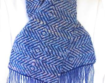 Handmade Blue Mohair Diamond Twill Weave Scarf for sale
