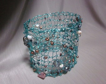 Handcrafted Cuff Bracelet Aqua-Blue Knit Wire Jewelry