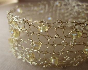 Custom Designer Knit Wire Bracelet with Blond Glass Beads