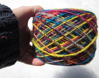 Handspun Yarn Bright Multicolor 1-ply 5 oz Wool