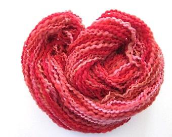 Unique Handspun Beaded Red Bouclé Wool Yarn