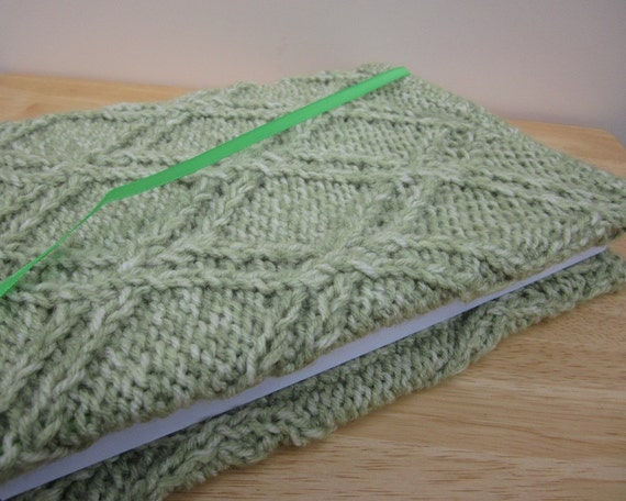 Handmade Green Knit Fabric Journal Cover & Jumbo Journal