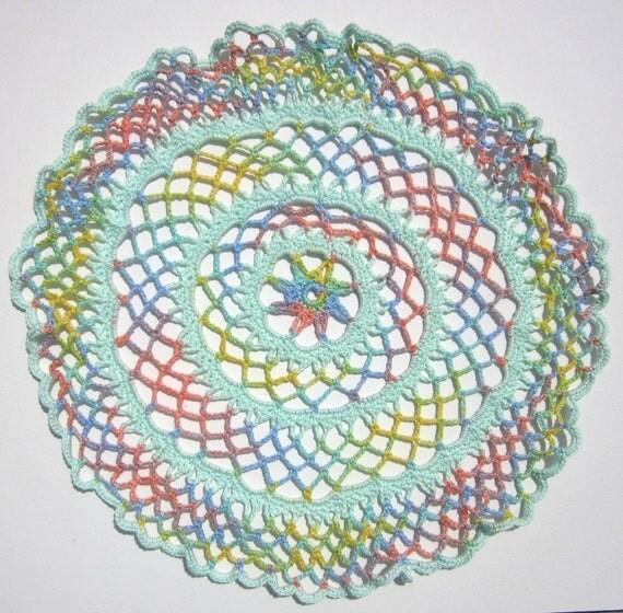 New Homemade Pretty Pastel Summer Cotton Doily Crocheted by Hand for sale