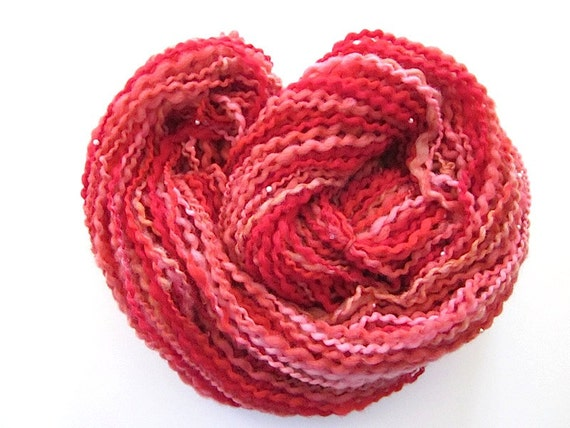 Unique Handspun Beaded Red Bouclé Wool Yarn