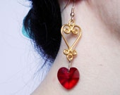 Swarovski Heart Drop Earrings - Red/Gold Plated