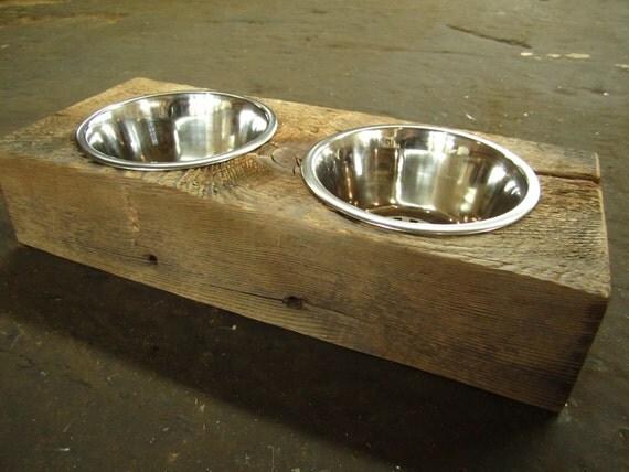 Wood Dog Dish Holder reclaimed hemlock barn beam 2 BOWL SMALL for Sarah laser engraved