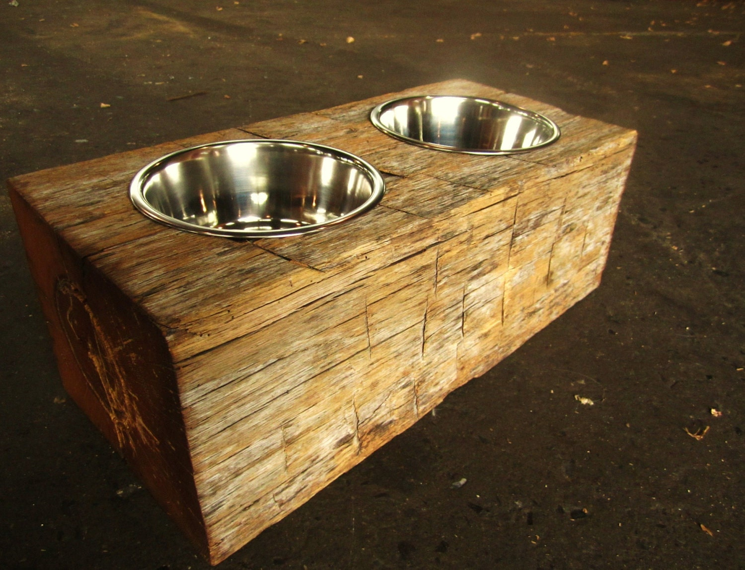 Wood Dog Dish Holder Reclaimed Oak Barn Beam 2 Bowl Large