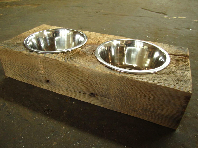Wood Dog Dish Holder reclaimed hemlock barn beam 2 BOWL SMALL - photo#3