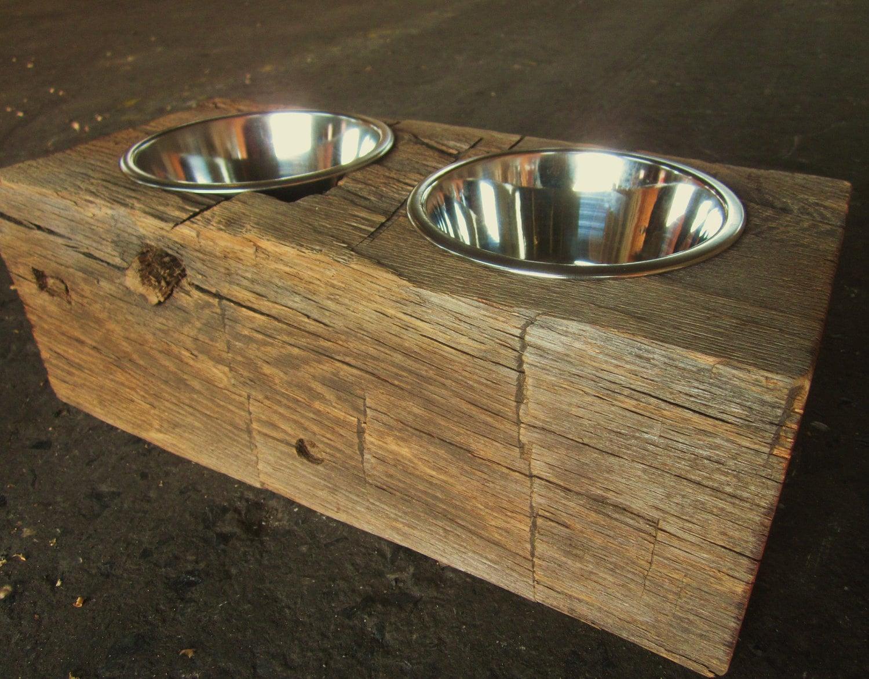 Wood Dog Dish Holder reclaimed oak barn beam 2 BOWL MEDIUM - photo#4