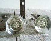 Vintage Glass Door Knob Set with Door Plates