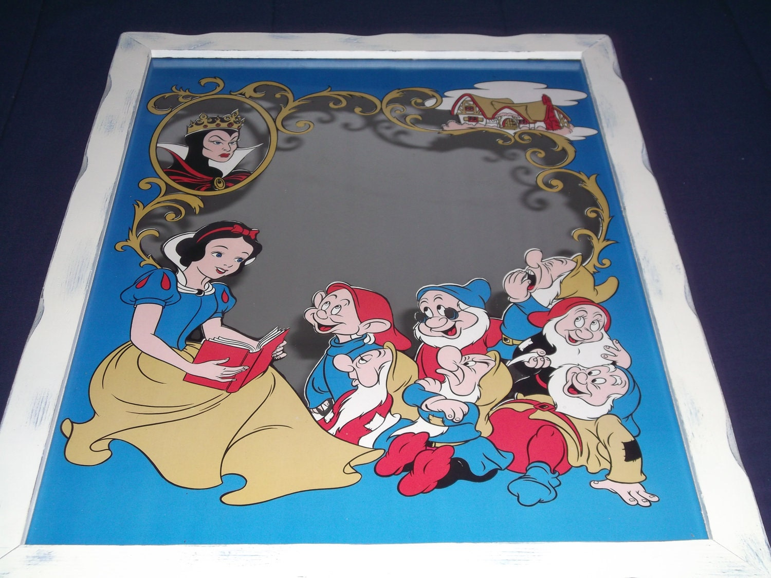 Vintage Silhouette Wall Mirror Large Snow White And The