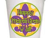 Happy Mardi Gras Y'all Styrofoam Cups -10 each 16oz