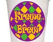 Krewe Brew Mardi Gras Styrofoam Cups -10 each 16oz