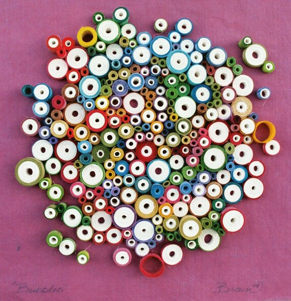 "Modern wall art, Circular wall art, Rolled paper art, Unique wall art, ""Bubbles"""