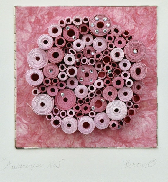 "Modern wall art, Circular art, Breast cancer art, Spiral art, Rolled paper art, ""Awareness, No.1"""