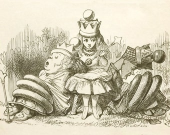 Vintage 1910s Lewis Carroll book with John Tenniel illustrations Through the Looking Glass.