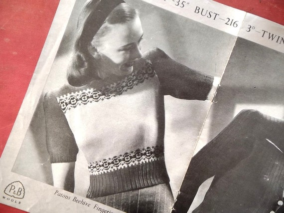 1940s Twin Set Knitting Pattern with Fair Isle detailing.
