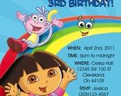 Dora The Explorer Invitations Custom Designed with Photo of your child Design 1