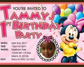 Minnie Mouse Invitations Custom Designed with your childs photo Design 1