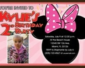Minnie Mouse Invitations Custom Designed  with your childs photo Design 4