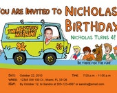 Scooby Doo Invitations Custom Designed  with your Child Driving the Mystery Machine Design 1