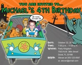 Scooby Doo Invitations Custom Designed  with your Child Driving the Mystery Machine Design 2