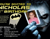 Batman Invitations Custom Designed with the Joker holding you kid's Photo