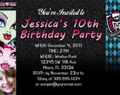 Monster High Invitations Custom Designed  with Your Child's Party Info Style 5