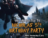 Harry Potter Invitations Custom Designed with your Kid as Harry Potter and Party Information