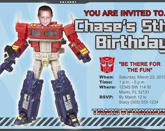 Transformers Invitations Custom Designed  with Your Child as the Action Figure Design 5