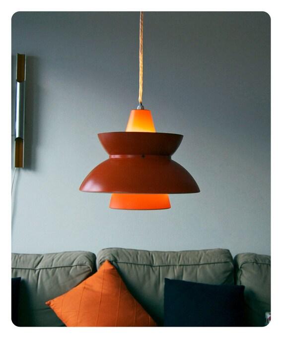 RESERVED - Vintage Danish lamp. Søværnspendel. Louis Poulsen. 1950s. Orange and white aluminum. Navy Pendant