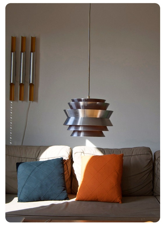 Danish modern hanging lamp. Eames era. 1960s 1970s. Orange and aluminum. Beautiful lighting.
