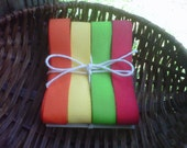 """5/8"""" Twill Ribbon - Red, Purple, Yellow & Orange - 1 Yard Each Color - 4 Yards Total"""