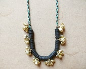SALE - Gold Cluster Beaded Necklace on Braided Cord - Green, White, Black