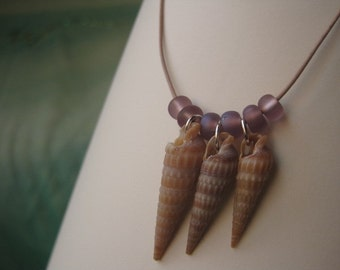 Triple Auger Shell Necklace