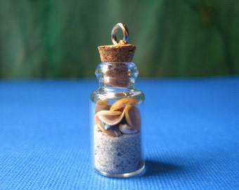Mini Wrightsville Beach in a Bottle Seashell Pendant with silver tone loop