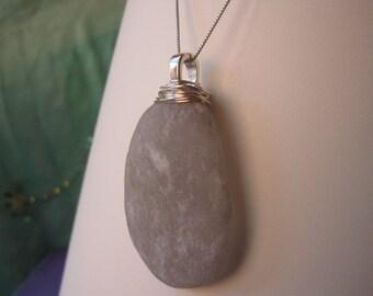 Large Silvery Sea Stone Pendant