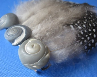 Sea and Sky Hair Barrette: Dove Gray Moon Seashells and Guinea Feathers
