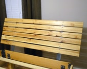 Modern Hickory bed frame and hickory wood slat headboard.