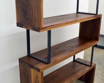 Modern Walnut wood and steel ribbon bookshelf