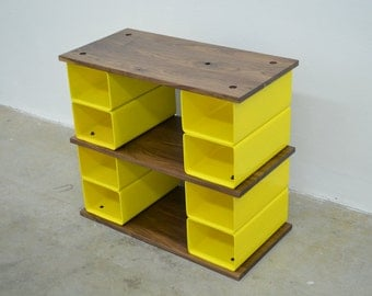 Walnut wood and steel cubbie bench and storage