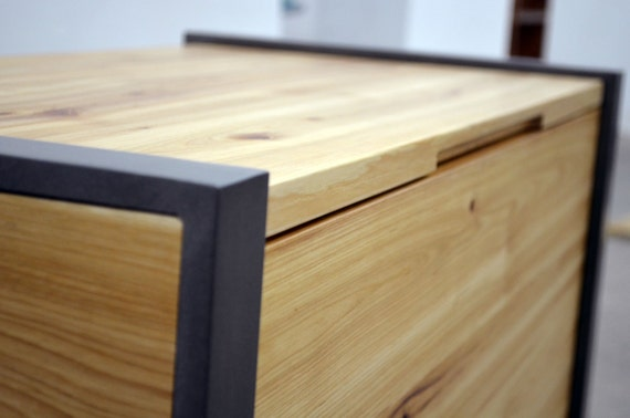Modern Solid wood and metal toy box