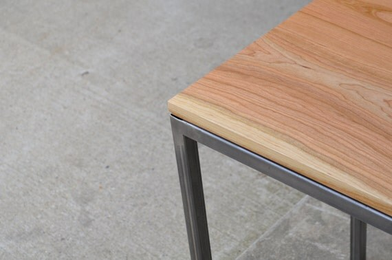 Cherry wood and raw steel end table