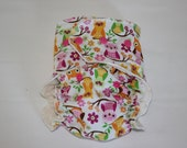 "Cheeky Cloth One Size Organic Bamboo Fitted Diaper ""Owls on a branch"""