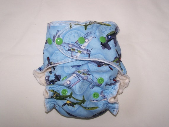 "Cheeky Cloth One Size Organic Bamboo Fitted Diaper  Second ""Bombs Away"""